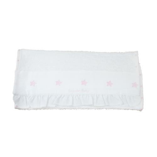 Set De Baño Relajante:Toalla de rizo blanca con detalle de estrellitas rosas