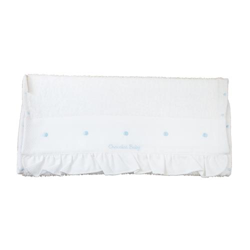 Set De Baño Relajante:Toalla de rizo blanca con detalle de topitos azules